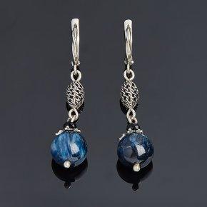 Серьги кианит синий Бразилия (серебро 925 пр. оксидир.)