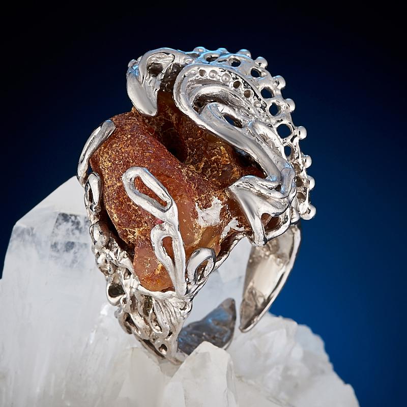 Кольцо янтарь (серебро 925 пр. позолота, родир. бел., родир. черн.) (регулируемый) размер 18