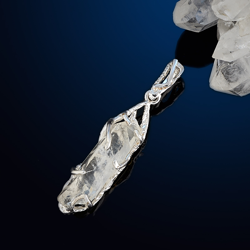 Кулон горный хрусталь (серебро 925 пр. позолота, родир. бел.) кристалл цена
