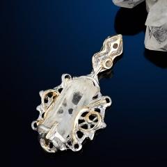 Кулон горный хрусталь Россия (серебро 925 пр. позолота, родир. бел.) кристалл