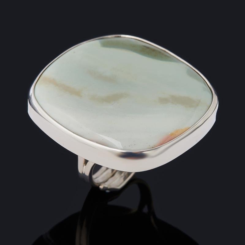 Кольцо яшма мукаит зеленый (серебро 925 пр. родир. бел.) (регулируемый) размер 17,5