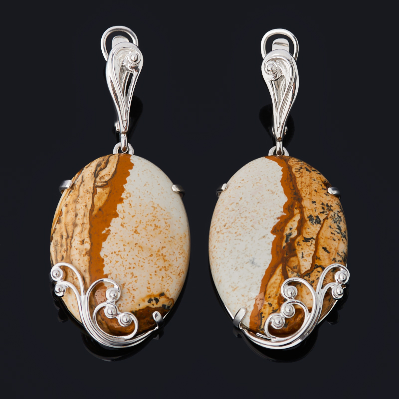 Серьги яшма рисунчатая (песочная) (серебро 925 пр. родир. бел.)