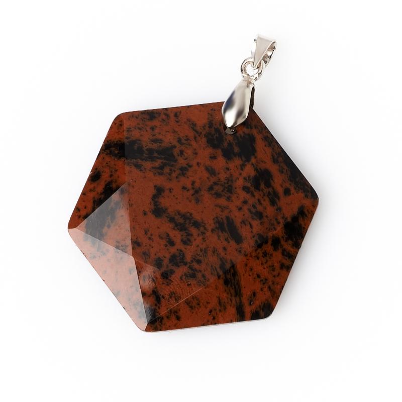 Кулон обсидиан коричневый Армения (биж. сплав) огранка 4,5 см