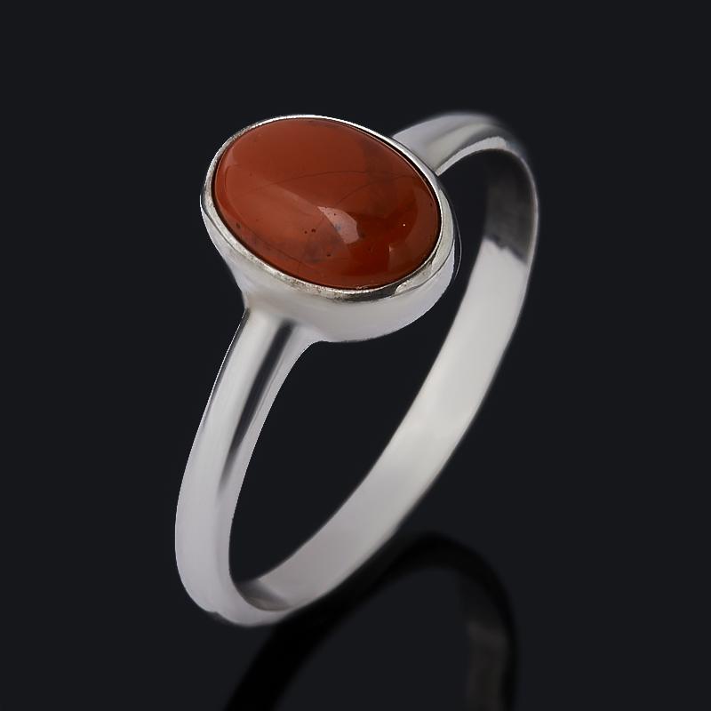 Кольцо яшма красная (серебро 925 пр. родир. бел.) размер 17