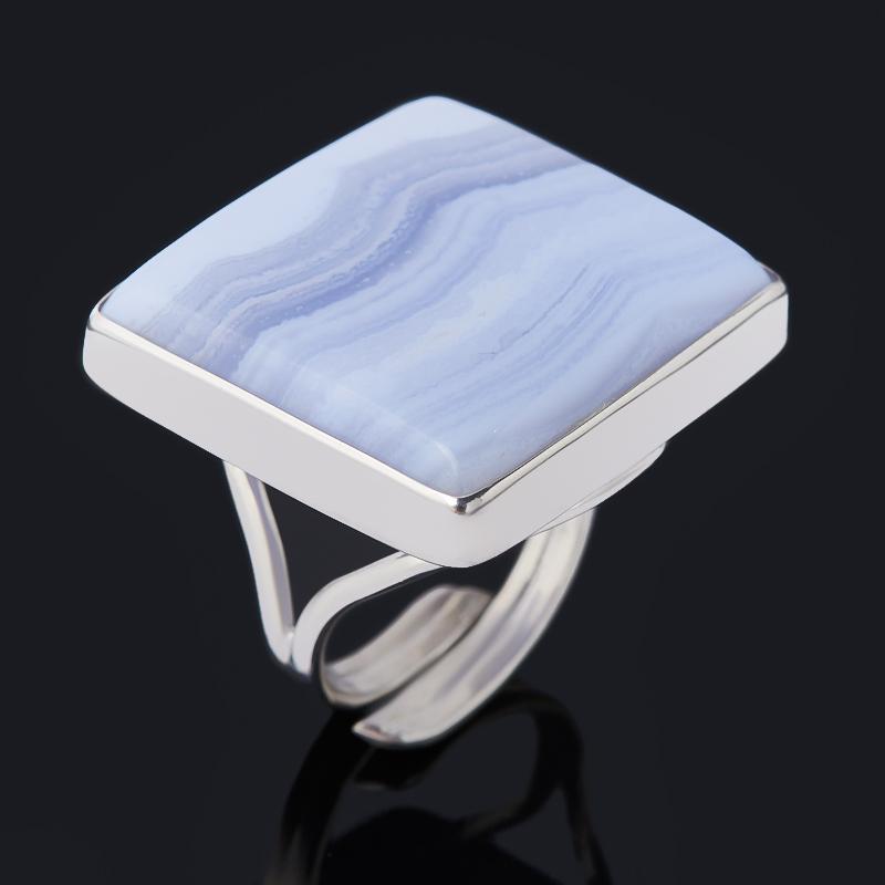 Кольцо агат голубой (серебро 925 пр. родир. бел.) (регулируемый) размер 17,5