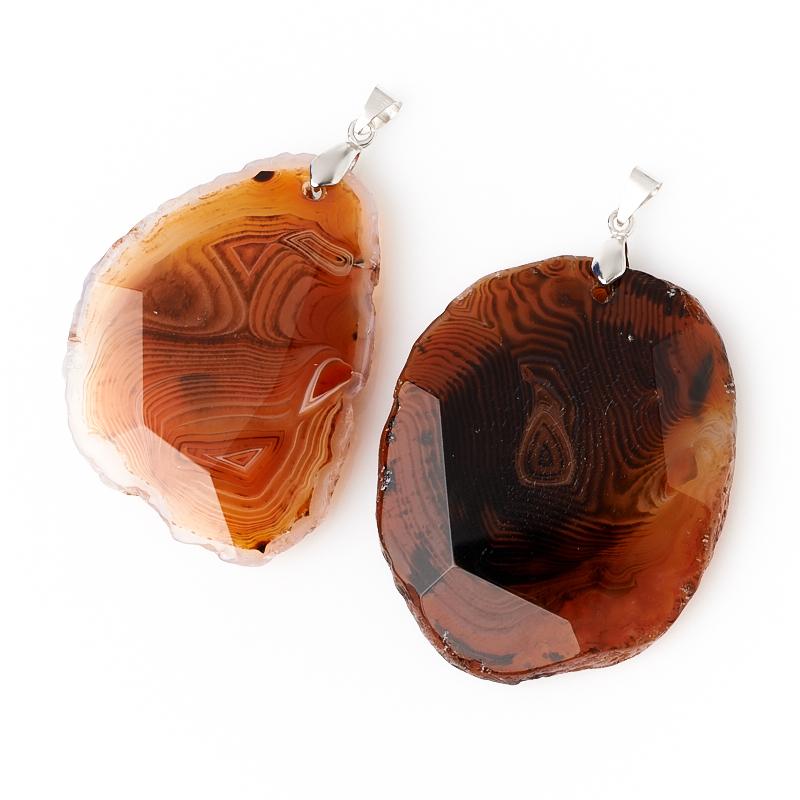 Кулон агат красный Ботсвана (биж. сплав) огранка 6-8 см