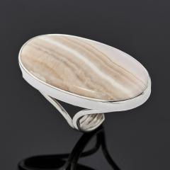 Кольцо агат розовый Ботсвана (серебро 925 пр. родир. бел.) (регулируемый) размер 18