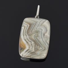 Кулон агат крейзи Бразилия (серебро 925 пр. родир. бел.) прямоугольник