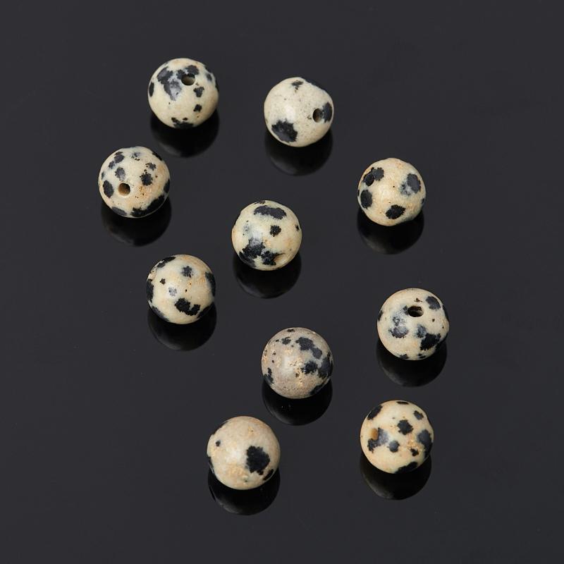 Бусина яшма далматиновая шарик 6,5 мм (1 шт) яшма далматиновая 3 4 см 1 шт