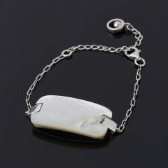 Браслет перламутр белый Индонезия (серебро 925 пр. родир. бел.) 14 см (+7 см)
