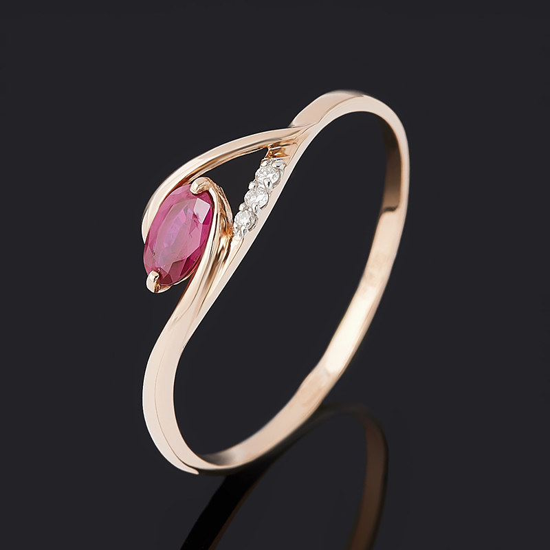 Кольцо бриллиант, рубин (золото 585 пр.) огранка размер 19,5