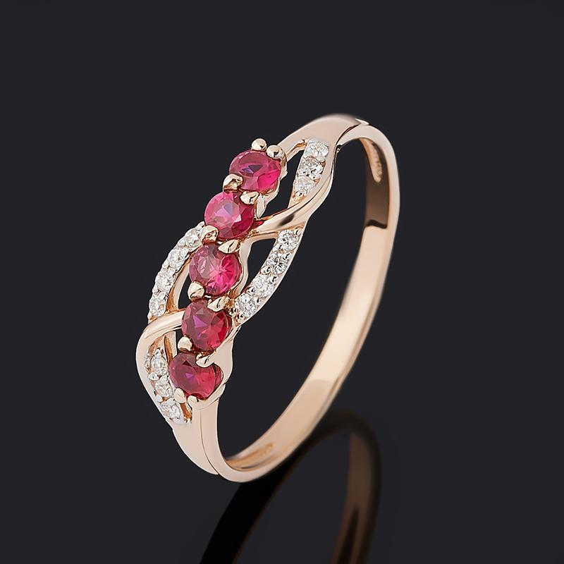 Кольцо бриллиант, рубин (золото 585 пр.) огранка размер 17,5