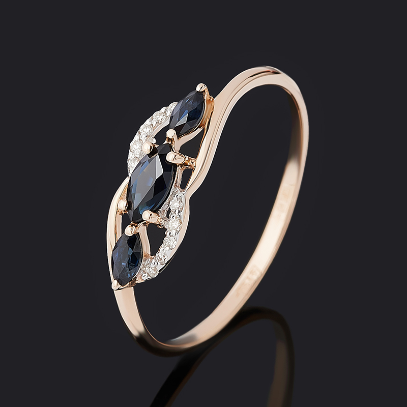 Кольцо бриллиант, сапфир (золото 585 пр.) огранка размер 19,5