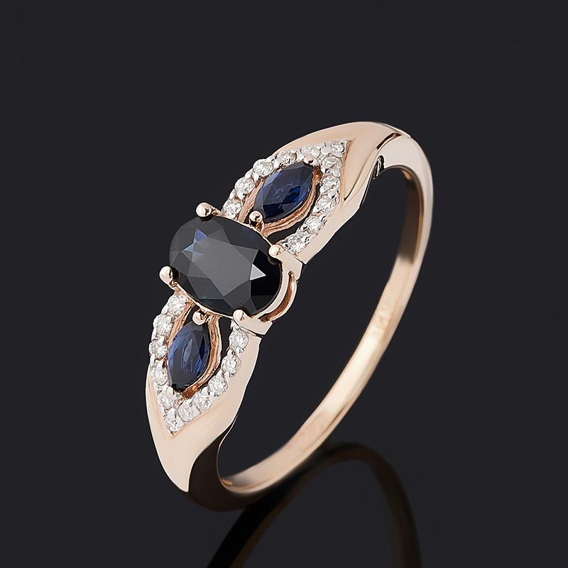 Кольцо бриллиант, сапфир (золото 585 пр.) огранка размер 17,5