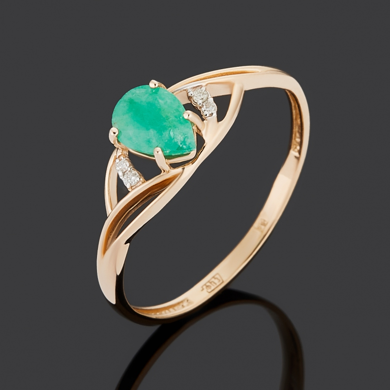 Кольцо бриллиант, изумруд (золото 585 пр.) огранка размер 16