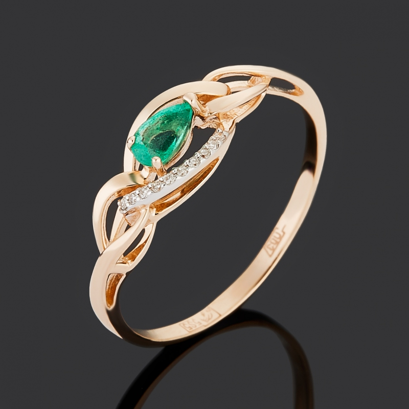Кольцо бриллиант, изумруд (золото 585 пр.) огранка размер 19