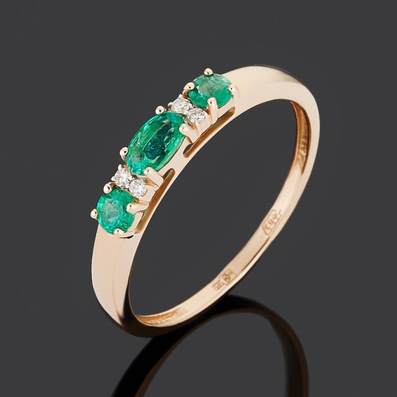 Кольцо бриллиант, изумруд (золото 585 пр.) огранка размер 19,5