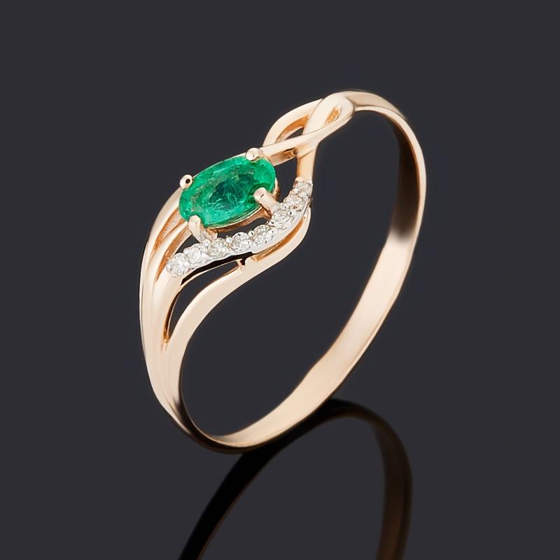Кольцо бриллиант, изумруд (золото 585 пр.) огранка размер 16,5