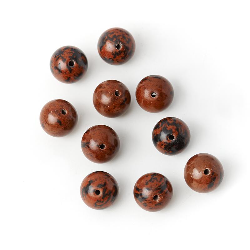Бусина обсидиан коричневый Армения шарик 10 мм (1 шт)