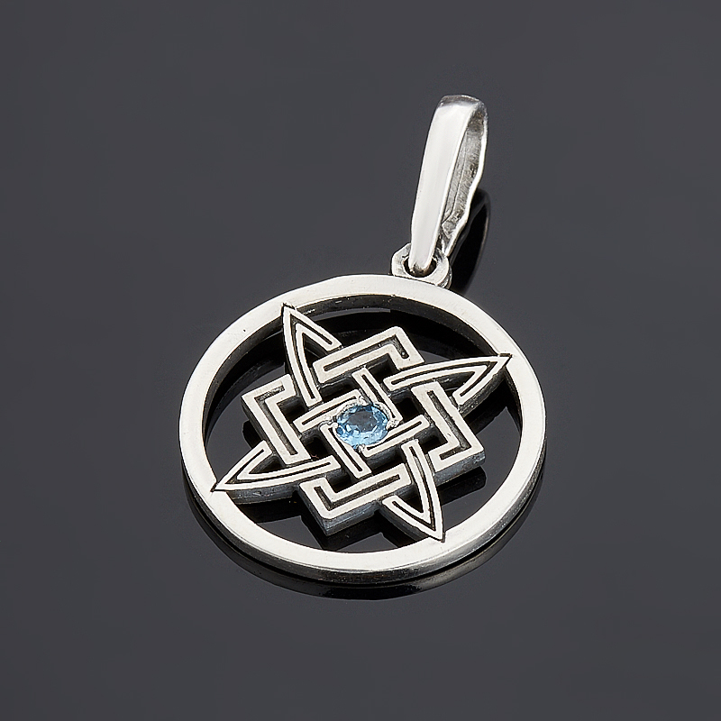 Кулон топаз голубой (серебро 925 пр. оксидир.) круг огранка