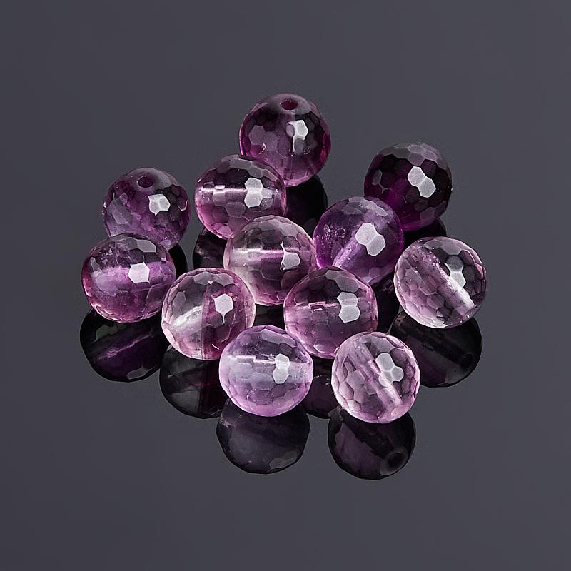 купить Бусина флюорит фиолетовый шарик 8-8,5 мм огранка (1 шт) дешево