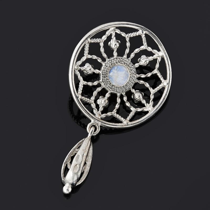 Кулон лунный камень (адуляр) Индия (серебро 925 пр. родир. бел.) круг