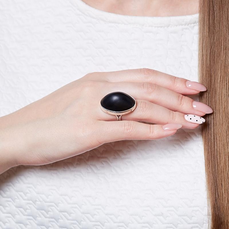 Кольцо гагат матовый Грузия (серебро 925 пр. родир. бел.) (регулируемый) размер 17
