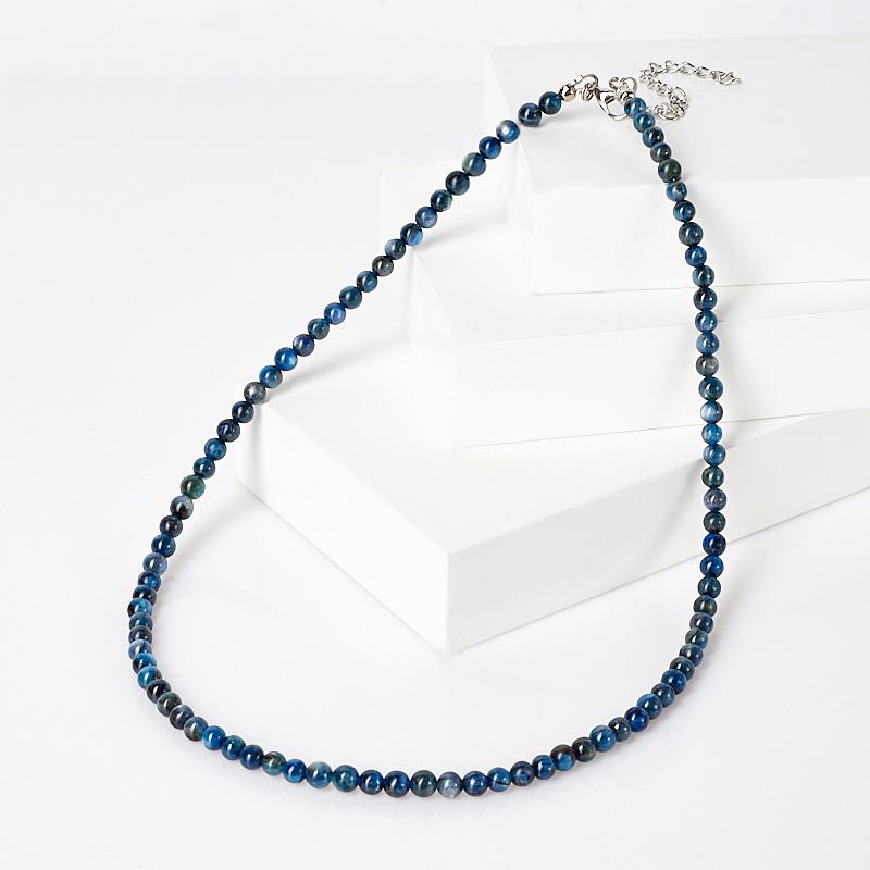 Бусы кианит синий (биж. сплав) 5 мм 48 см (+7 см) цена и фото