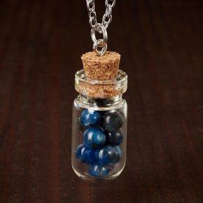Кулон кианит синий Бразилия (биж. сплав) бутылочка 3,5 см