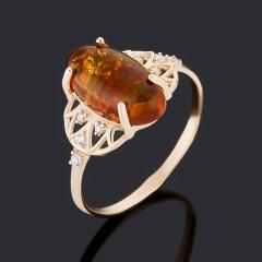 Кольцо янтарь Россия (золото 585 пр.) размер 18
