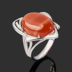 Кольцо агат красный Ботсвана (серебро 925 пр. родир. бел.) размер 17