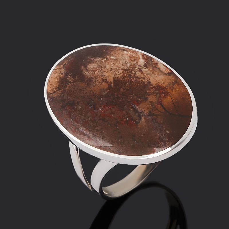 Кольцо яшма уральская (серебро 925 пр. родир. бел.) размер 18,5