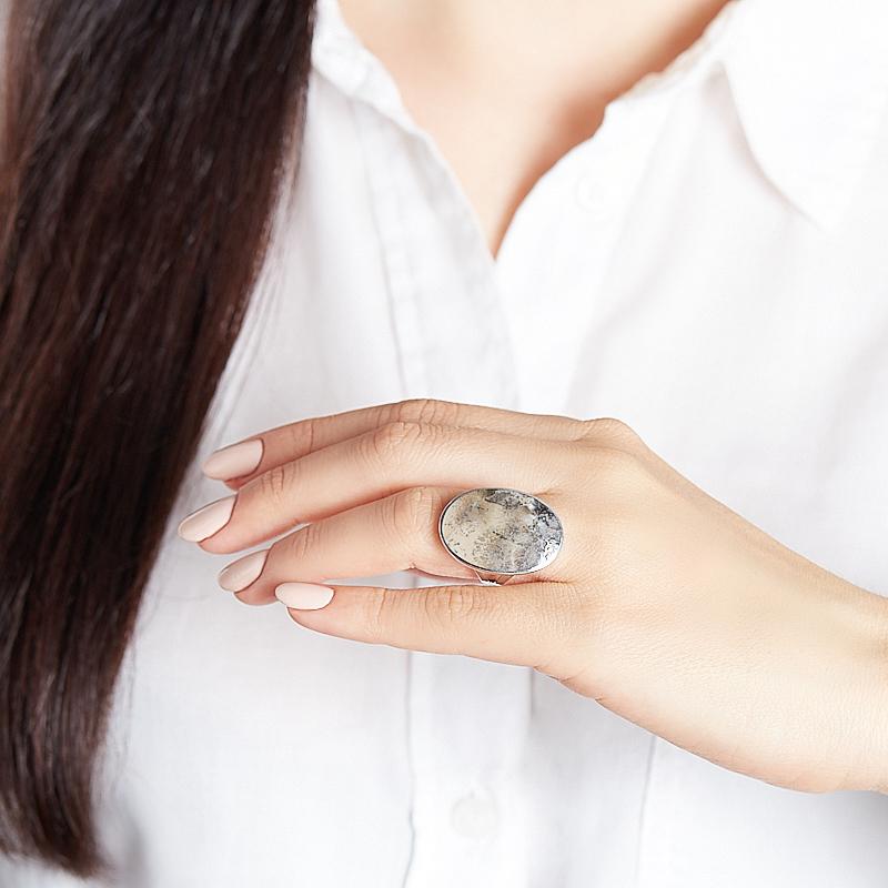 Кольцо яшма уральская Россия (серебро 925 пр. родир. бел.) размер 17,5