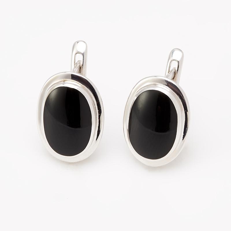 Серьги агат черный (серебро 925 пр. родир. бел.)