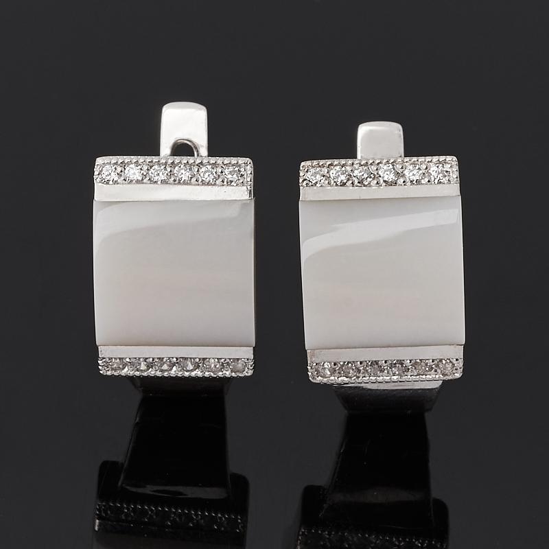 Серьги кахолонг (серебро 925 пр. родир. бел.)
