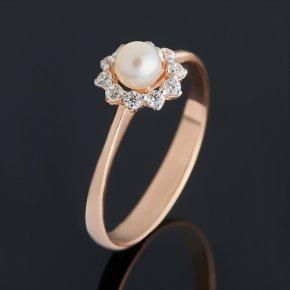Кольцо жемчуг белый Гонконг (серебро 925 пр. позолота) размер 17,5