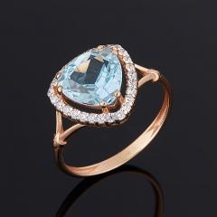 Кольцо топаз голубой Бразилия (серебро 925 пр. позолота) огранка размер 17,5