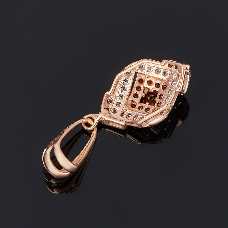Кулон гранат альмандин Индия (серебро 925 пр. позолота) огранка