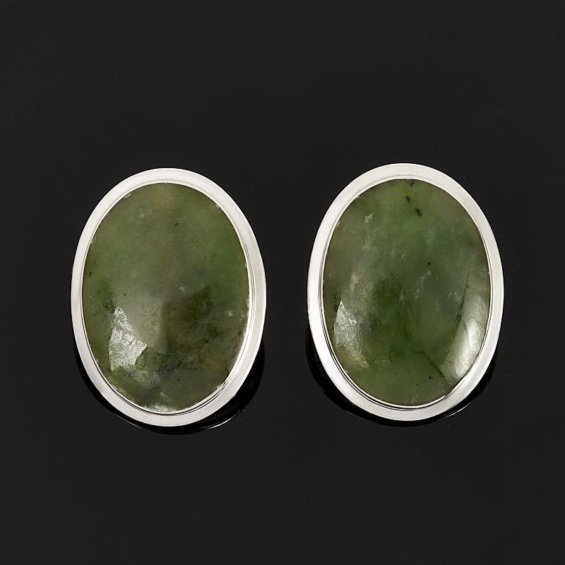 Серьги нефрит зеленый (серебро 925 пр. родир. бел.) липовский юрий олегович нефрит камень спокойствия