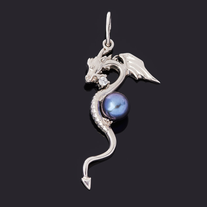 Кулон жемчуг черный (серебро 925 пр. родир. бел.) дракон цены