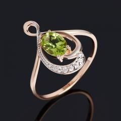 Кольцо хризолит США (серебро 925 пр. позолота) огранка размер 17,5