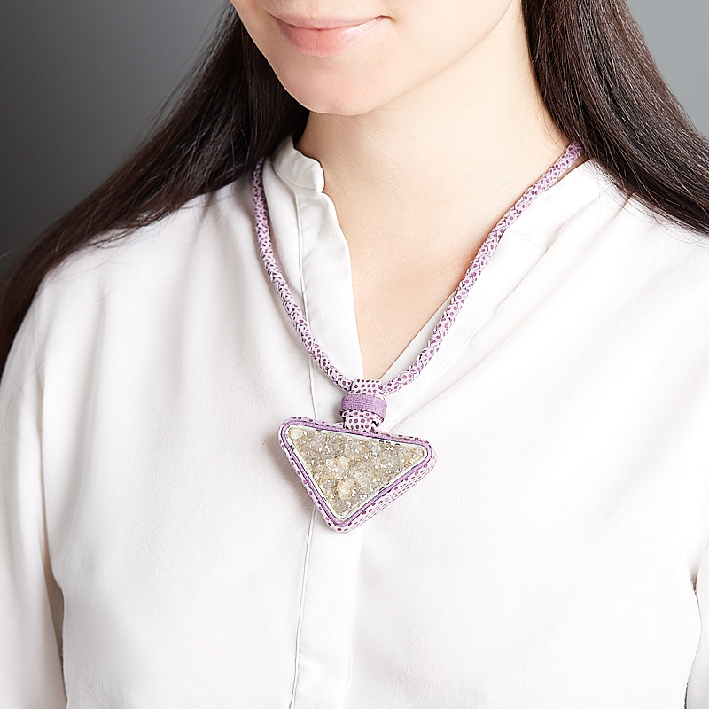 Кулон аметист Россия (кожа натуральная)