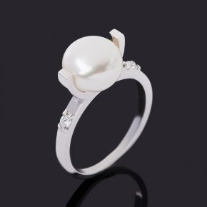 Кольцо жемчуг белый Гонконг (серебро 925 пр. родир. бел.) размер 17