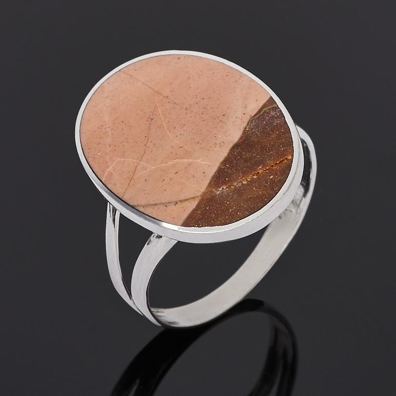Кольцо яшма уральская (серебро 925 пр. родир. бел.) размер 19
