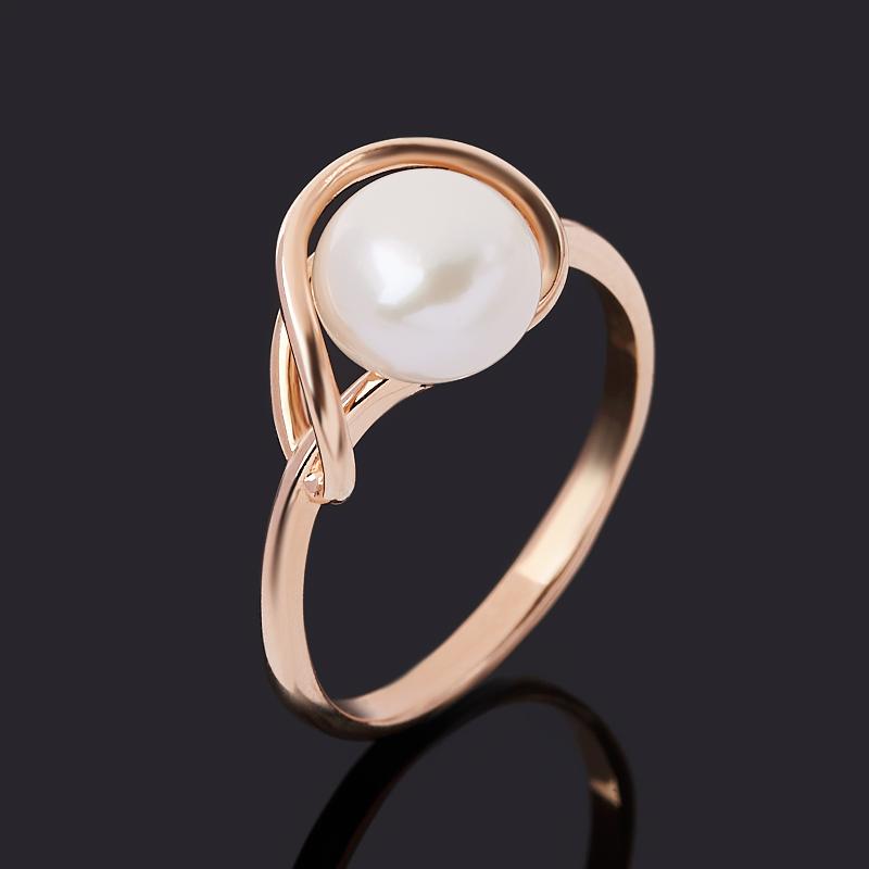 Кольцо жемчуг белый (серебро 925 пр. позолота) размер 17,5
