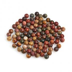 Бусина яшма пестроцветная Мадагаскар шарик 6,5-7 мм (1 шт)