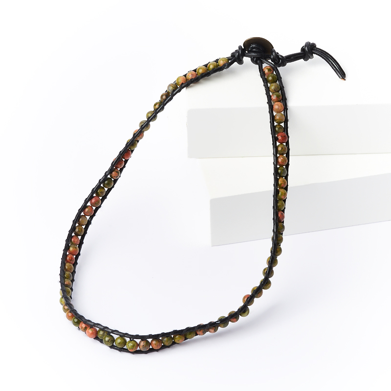 Браслет чокер унакит ЮАР (биж. сплав, кожа натуральная) Чан Лу 4 мм 16 см