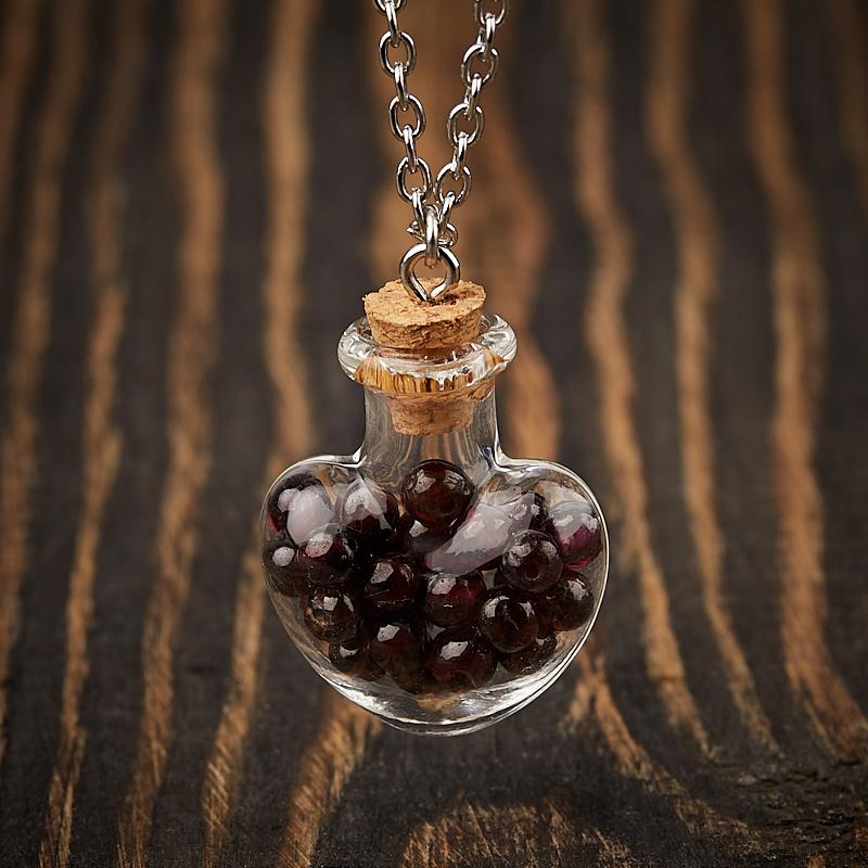 Кулон гранат альмандин Индия (биж. сплав) бутылочка 3 см