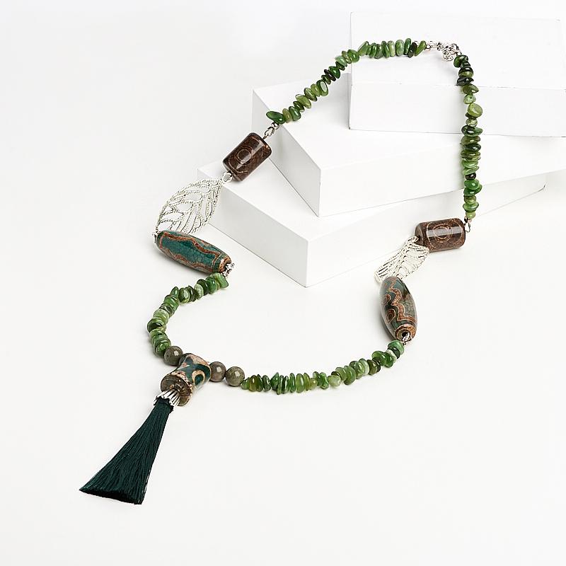 Бусы нефрит зеленый (биж. сплав, текстиль) (сотуар) длинные 64 см (+7 см) бусы migura цвет зеленый y8021