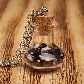 Кулон гранат альмандин Индия (биж. сплав) бутылочка огранка 2,5 см